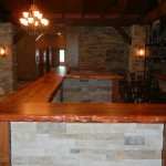 Custom mesquite bar top, front view